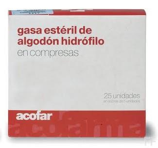 Acofar Gasa Estéril de Algodón Hidrófilo - 25 ud